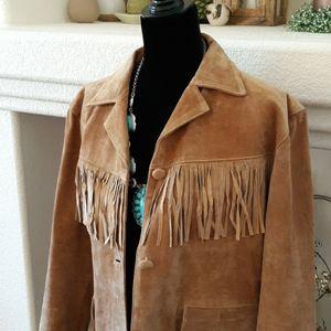 Stunning Leather Jacket with Fringe!